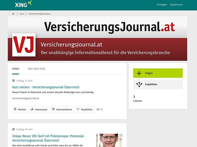 Die neue Nachrichtenseite des VersicherungsJournals auf Xing (Screenshot)
