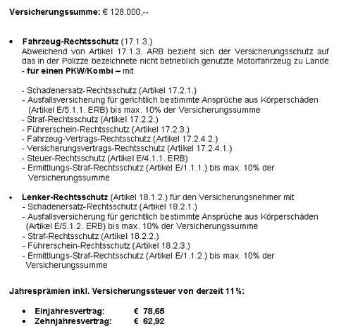 """Tarifauszug Privat-Pkw-Basisschutz zum """"Durchblicker""""-Vergleich (Text: Arag)."""