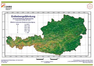 Erdbebengefährdung in Österreich (Grafik: ZAMG)