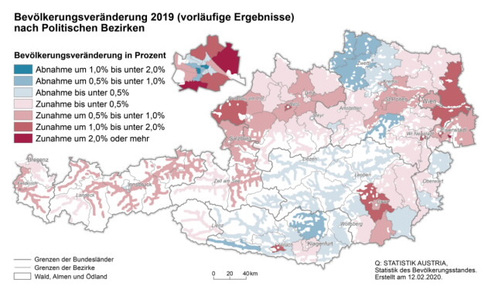 Bevölkerungsentwicklung in den Bezirken (Grafik: Statistik Austria)