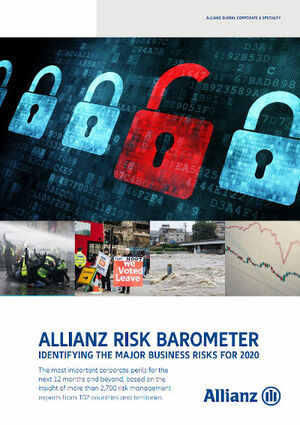 Das Allianz Risk Barometer 2020 (Cover; Quelle: AGCS)