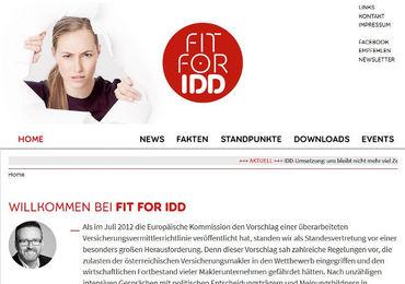 Fachverband startete Website zur IDD-Umsetzung (Screenshot)