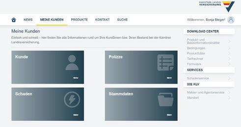 Das neue KLV-Maklerportal (Screenshot; Quelle: KLV)