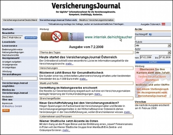 Screenshot VersicherungsJournal.at vom 7. Februar 2008