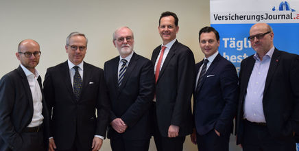 V.l.n.r.: Wolfgang Staudinger, Adam Lessing, Marius Perger, Andreas Bayerle, Patrick Ortner, Rudolf Mittendorfer (Bild: VersicherungsJournal)