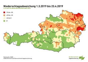 In Österreich hat es zuletzt zu wenig geregnet (Quelle: Hagelversicherung)